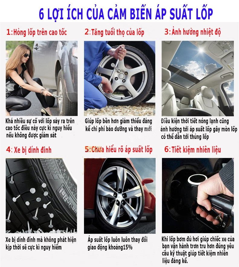 6 lợi ích thiết thực khi sử dụng van cảm biết áp suất cho lốp