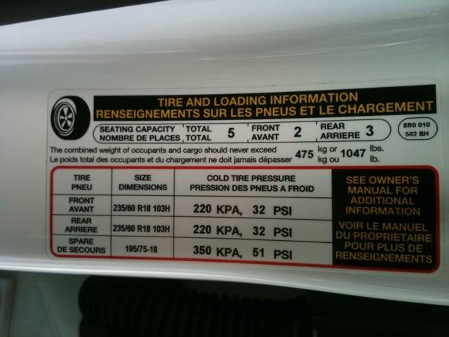 Áp suất lốp tối đa thể hiện trên decal dán xe